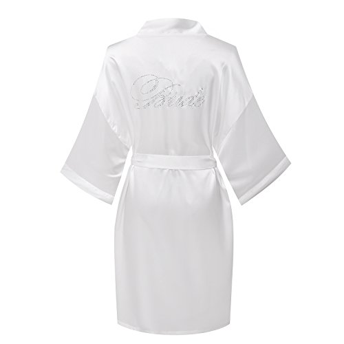 - Yukata Satin Wedding Robes With Clear Rhinestones-Bride Edition,Bride White M