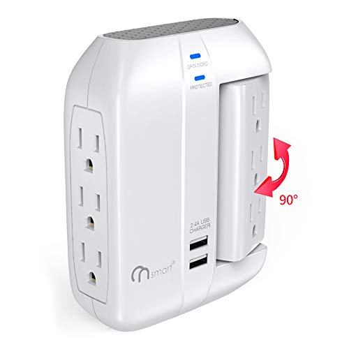 (ON Smart Wall Tap Swivel Surge Protector- Power Strip w/ 6 Power Outlets + 2 Ports USB Charger- Portable Wall-Mount Socket - Best Power Surge Protection & Smart Charging for Home, The Office, Travel)