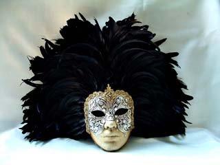 Si Lucia Masquerade Full Silver Macrame Face Black Feathers Carnival Mask