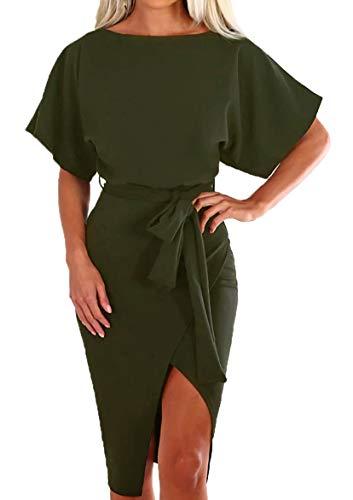 (BTFBM Women Casual Short Sleeve Split Elegant Pencil Dress with Belt (Army Green, X-Large) )