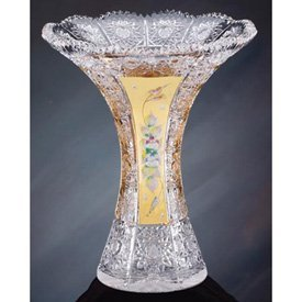Large Crystal Bud Vase 24k Gold Plated - Holds up to 12 Roses by Allmygold Jewelers