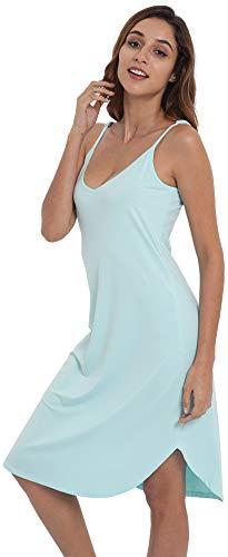 NEIWAI Womens Full Slip Spaghetti Chemise Nightgown Cami Dress Aqua Green L