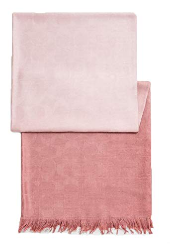 Coach Women's Signature C Wrap Scarf - Wool & Silk in Ombre (Carnation)