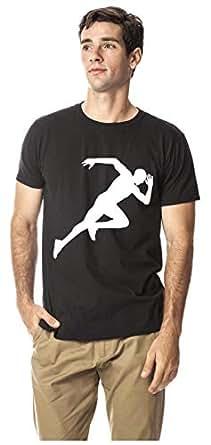 Sprinting sports cotton round neck tshirt, Black L