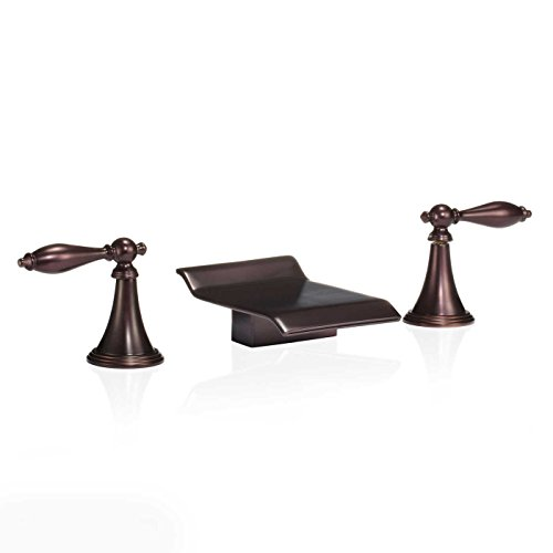 FREUER Scaffale Collection: Widespread Waterfall Bathroom Sink Faucet, Oil Rubbed Bronze (Rub Faucet)