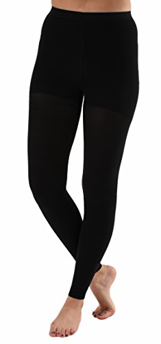 Graduated Compression Leggings with Control Top, Recovery Compression Tights - Compression Stockings for Women - Firm Medical Support 20-30mmHg (Large, Black)