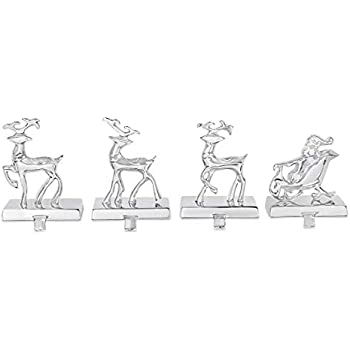 BIRDROCK HOME Reindeer & Santa Claus Stocking Holder Set for Mantle - Set of 4-3 Reindeer- Holiday Mantle Fireplace Topper - Decorative Christmas Stocking Holder - Family Décor Stand Hanger - Steel