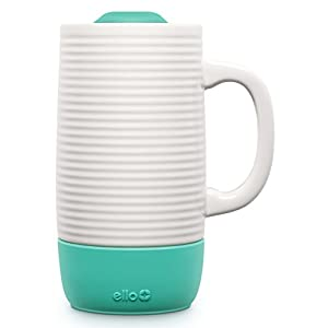 Ello Jane Ceramic Travel Mug with Spill-Resistant Slider Lid, 18 oz, Mint