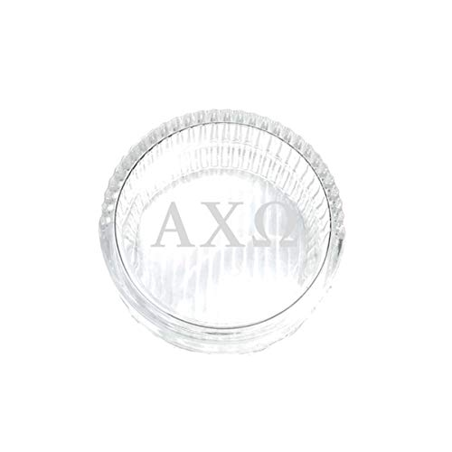 M&D Sorority Gifts Alpha Chi Omega Jewelry Box & Keepsake Glass Tray with Greek Letters