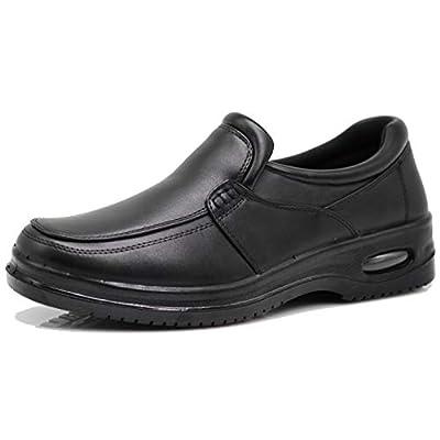 AL Mens Black Oil Resistant Professional Industrial Anti Slip Restaurant Rubber Air Sole Working Comfy Shoes: Shoes
