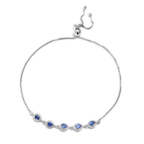Bolo Bracelet 925 Sterling Silver Platinum Plated Pear Blue Sapphire Gift Jewelry for Women Cttw 0.8 Adjustable ()