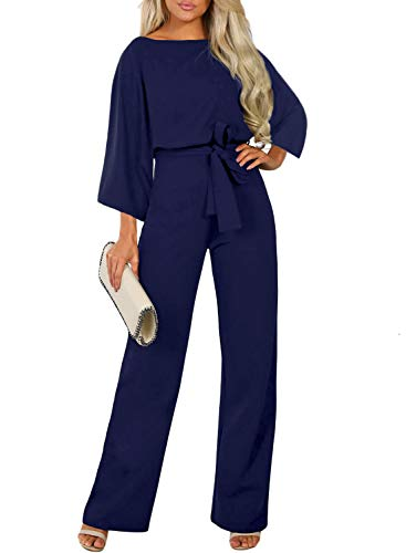 Happy Sailed Women Elegant Long Sleeve Loose Long Pants Belted Waist Blue Jumpsuits Rompers Overalls Small