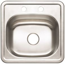 Premier 3562902 2-Hole Bar Sink, 23-Gauge, Stainless Steel, 15'' X 15'' X 5-1/8'', 13.332'' x 13.332'' x 13.332''