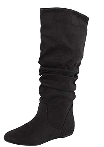 SODA Women's Zuluu Slouchy Faux Leather Knee HIgh Flats Boots (11, -