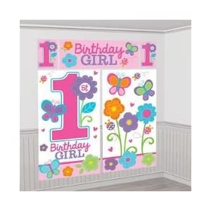 """Amscan Sweet Birthday Girl 1st Birthday Scene Setters Wall Decorating Kit, 5 Pieces, Made from Plastic, White/Pink, 59"""" x 65"""" by 54"""