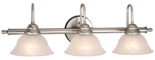 Vaxcel USA VL51483BN Babylon 3 Light Modern Bathroom Vanity Lighting Fixture in Nickel, Glass