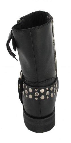 de mujer Harley estilo Schwarz black Botas cuero motero Davidson qSPvRw