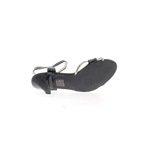 Sandales noires à petits talons épais de 6,5cmavec brides dorées