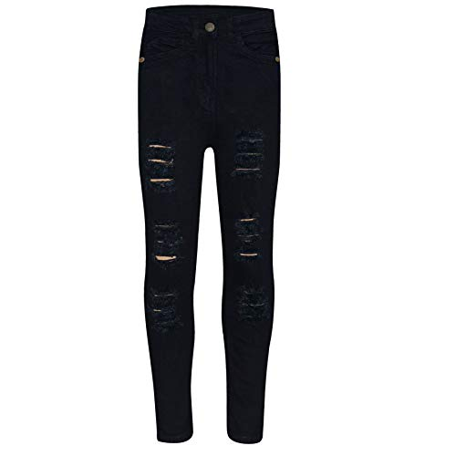 Kids Girls Skinny Jeans Denim Ripped Fashion Stretchy Pants Jeggings 3-14 Years 1