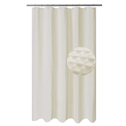 Stall Fabric Shower Curtain Waffle Weave 54 Wide by 78 Long, Hotel Collection, 230gsm Heavy Duty, Water Repellent, Machine Washable, Spa Cream Pique Pattern Decorative Bathroom Curtain (Liner Curtain Fabric Shower Stall)