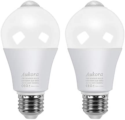 Motion Sensor Light Bulbs, Aukora 12W (100-Watt Equivalent) E26 Motion Activated Dusk to Dawn Security Light Bulb Outdoor/Indoor for Front Door Porch Garage Basement Hallway Closet(Cold White 2 Pack)
