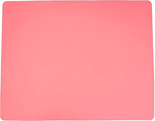 Silicone Baking Mat Large Nonstick and Nonskid Heat Proof Pastry Dough Pie Pizza Bread Making Rolling Mat Multipurpose for Counter Top Protector, Dining Table Mat and Placemat 20'' by 16''(Pink)