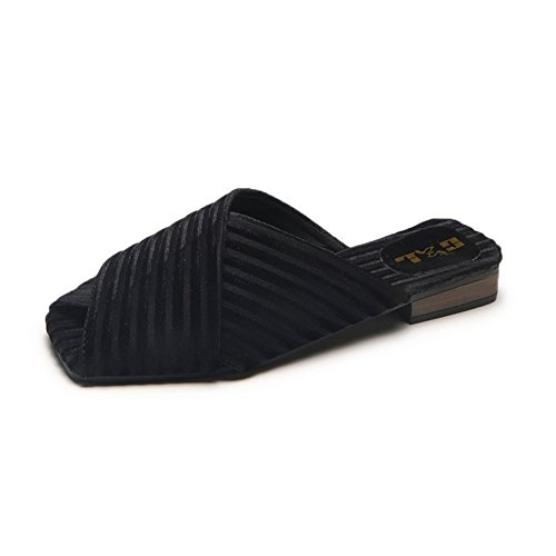 pit4tk Shoes Female Toe Tie Slippers Summer Half Pointed Shoes Flats Loafers Mules Black Bow Flat Women rqr8wYx