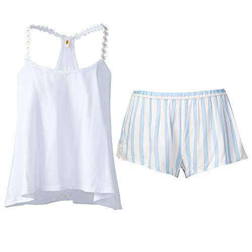 Sexy Per Servizio Pantaloncini Con Da Righe Bianco E Casa Pigiama Color Pantaloncini Blu Il Photo Stampa In A Mmllse Di Estivo Donna TZq5w6xf