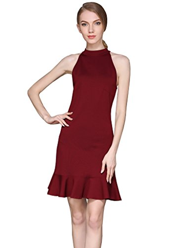 Buenos Ninos Women's Sleeveless High Neck A-line Halter Short Mini Dress with Ruffle Hem Wine red XXL