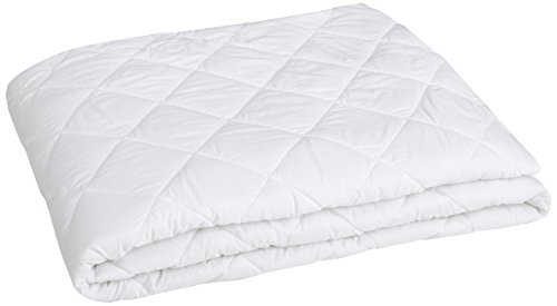 AmazonBasics Hypoallergenic Quilted Mattress Topper Pad Cover - 18 Inch Deep, California King, White