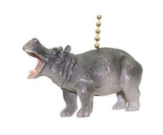 (Clementine Designs Gray Hippo Hippopotamus Safari Animal Ceiling Fan Light Pull)