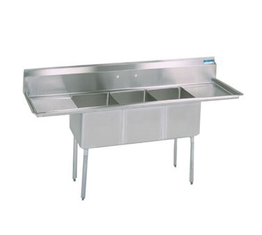 BK Resources 3 Compartment Sink 90''W x 23-13/16''D, Stainless Steel