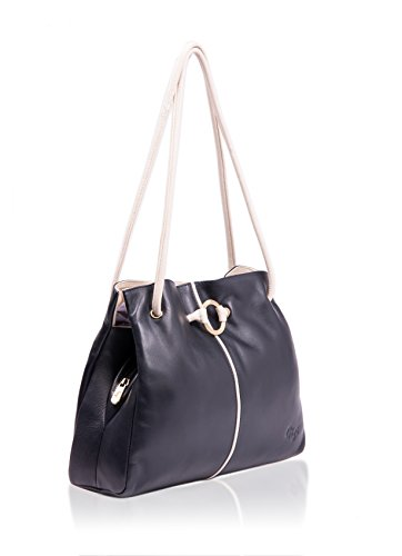 Ladies Gigi Leather Shoulder Ring Ivory Navy Navy Black Bag Detail AAwdrq