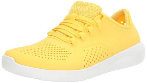 Crocs Women's LiteRide Pacer Sneaker, Sunshine/White, 5 M US