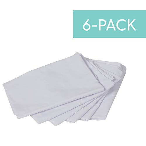 """Hanging Rest Mat Sheet for Daycare and Preschool Nap Mats - Sanitary Machine Washable, 48"""" x 26"""", 200+ Thread Count (6-Pack) - White"""