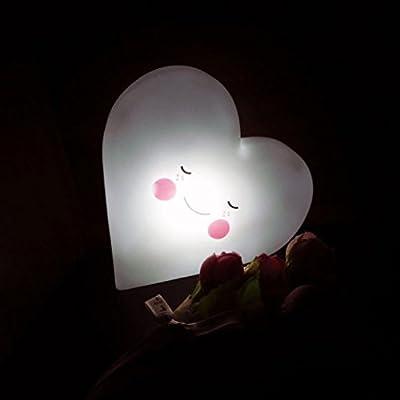 d9794ae2c4 TAOtTAO - Peluche de vinilo suave con forma de corazón LED para decoración  de habitación de bebés y niños, Blanco, 12.3*12.5*3.2mm. Cargando imágenes.