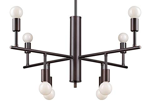 (Forte Lighting 7091-08-32 Signature 8 Light 28 inch Antique Bronze Chandelier Ceiling Light)