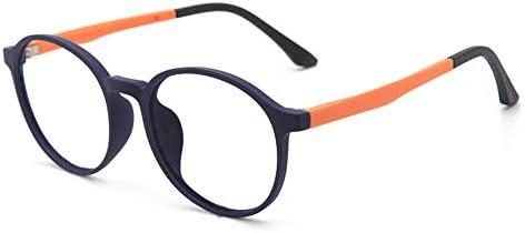 VEVESMUNDO Kinder Brille Blaulichtfilter Computerbrille Blaulichtbrille UV Schutz Runde Retro Ohne Stärke Klare Flexibel Fassung Gestell mit Brillenetui für Mädchen und Jungen