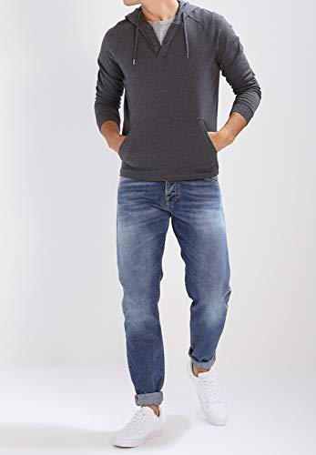 Longues Hommes shirt Et Foncé Pull Gris Capuche T Coton Homme Bicolore Manches Boutons Sweat Ou En Yourturn À Noir Pour Blanc Avec qwHfUnOZ