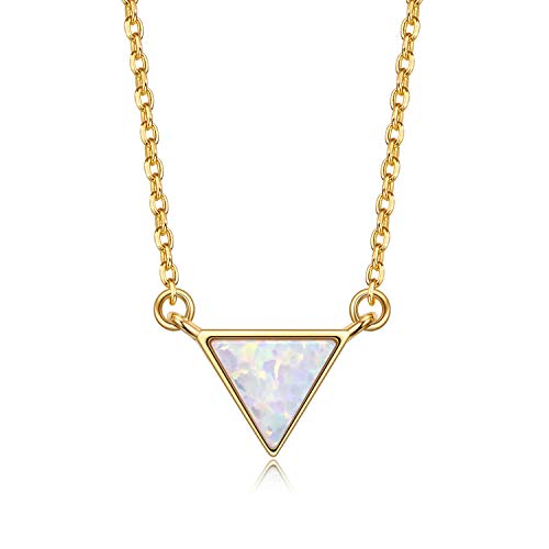 VOUCHON 14K Yellow Gold Plated Sterling Silver Triangle White Opal Necklace for Women Dainty Jewelry