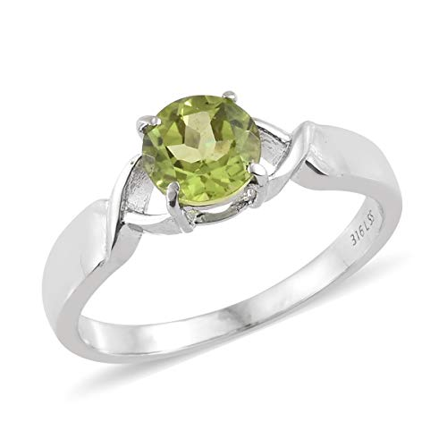 - Shop LC Delivering Joy Stainless Steel Round Peridot Solitaire Ring for Women Jewelry Size 8 Cttw 1.2