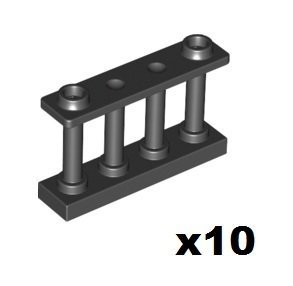 New Lego 1x4x2 Black Fence with Bars (10 per pack)