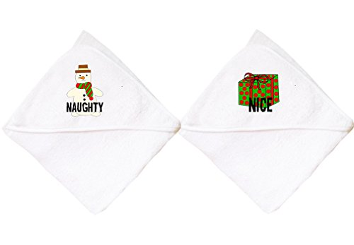 Cute Rascals Naughty Snowman Nice/Christmas Gift Box Cotton Baby Towel Twin Set White