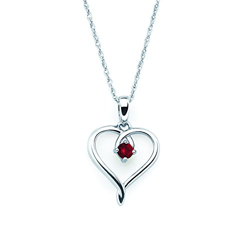 925 Sterling Silver Genuine Garnet January Birthstone Heart Pendant Necklace with 18