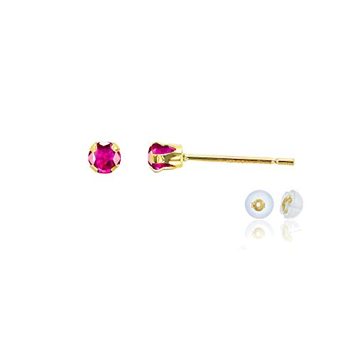 Gold Genuine Ruby Earring - Genuine 14K Solid Yellow Gold 3mm Round Created Red Ruby July Birthstone Stud Earrings