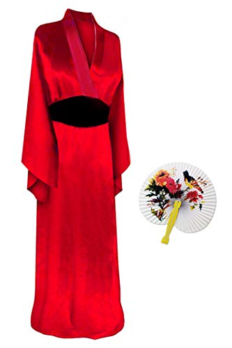 Solid Red Geisha Robe Plus Size Supersize Halloween Costume Basic Kit 3X-4X -