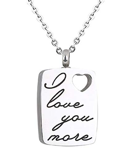 Heartfelt I Love You More on Dog Tag Cremation Jewelry Necklace Urn Memorial Keepsake Pendant for Ashes with Funnel Fill Kit