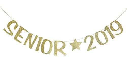 Senior 2019 Banner Sign for Senior Photo Prop Graduation Party Decor Class of 2019 Congrats Grad Decorations Gold -