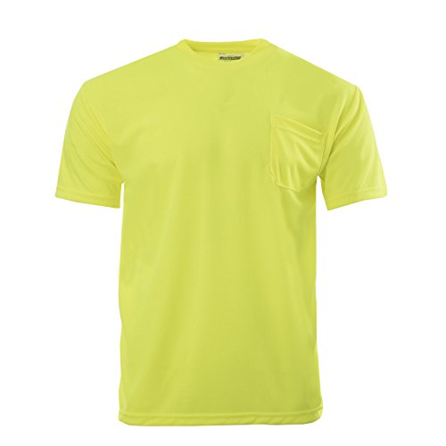 Mens Hi Visibility - JORESTECH High Visibility T-Shirt with Pocket Short Sleeve (X-Large, Yellow)