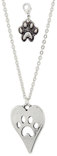 Midwest CBK Paw Print Heart Pendant Necklace with